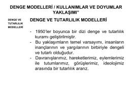 DENGE MODELLERİ / KULLANIMLAR VE