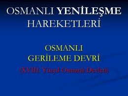 İnkılâp Ders Notları Osmanlı Yenileşme Hareketleri