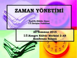 """20 Temmuz 2015 Tarihinde Düzenlenen """"Zaman Yönetimi"""" Konulu"""