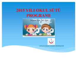 Okul Sütü - Antalya Halk Sağlığı Müdürlüğü