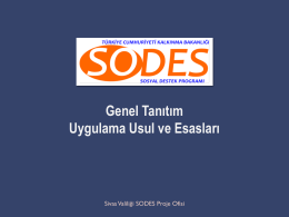 Eğitim Sunumu - TC Sivas Valiliği SODES Proje Ofisi