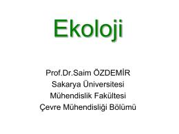 Populasyon Ekolojisi - Sakarya Üniversitesi