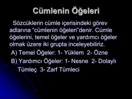 türkçe dil bilgisi cümlenin ögeleri