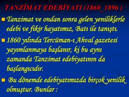 tanzimat edebiyatı (1860_1896 )