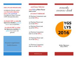 2016 YGS - LYS Sınav sistemi