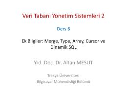 Ders 6 - PL-SQL Ek Bilgiler - Altan MESUT