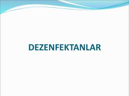 Dezenfektanlar, Çev. Müh. Hacı DENİZ