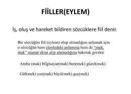 FİİLLER(EYLEM)