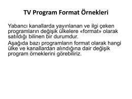 TV Program Format Örnekleri
