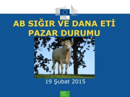AB Sığır ve Dana Eti Pazar Durumu 19 Şubat 2015