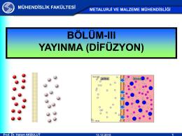 III - YAYINMA (DİFÜZYON)