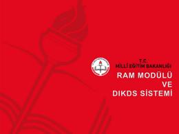 Ram modülü - Özel Eğitim ve Rehberlik Hizmetleri Genel Müdürlüğü