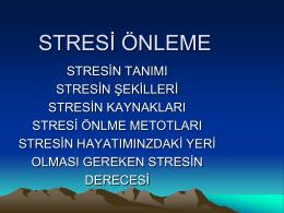 STRESİ ÖNLEME - Atakent Ortaokulu