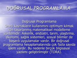 doğrusal programlama modelinin çözümü