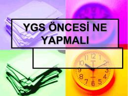 YGS Öncesi Ne Yapılmalı