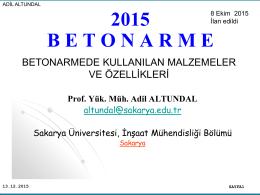 Beton - Sakarya Üniversitesi