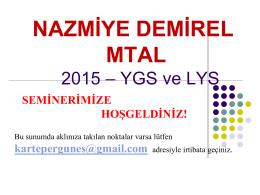 2015 YGS-LYS Sistemi