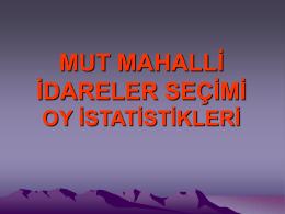 MUT OY İSTATİSTİKLERİ
