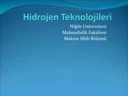 Hidrojen Teknolojileri - Makine Mühendisliği Bölümü