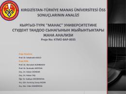 Kırgızistan-Türkiye Manas Üniversitesi Öss Sonuçlarının Analizi