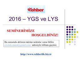 2016 YGS-LYS Sistemi