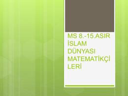 8.yy-15.yy islam Dünyası