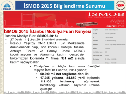 İSMOB 2015 İstanbul Mobilya Fuarı Künyesi