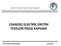 TEDAŞ GENEL MÜDÜRLÜĞÜ - elektrik tesislerinin proje onay ve