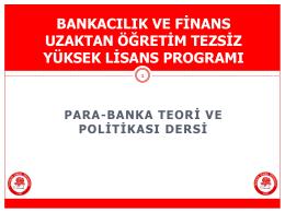 Para-Banka Teori ve Politikası Ders Sunumu 1