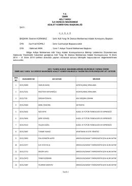 Hukuk Mahkemeleri Kabul Edilenlerin Listesi