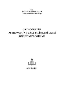 ortaöğretim astronomi ve uzay bilimleri dersi öğretim programı