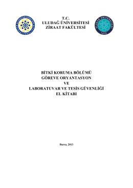Laboratuvar Güvenliği - Uludağ Üniversitesi Ziraat Fakültesi Bitki