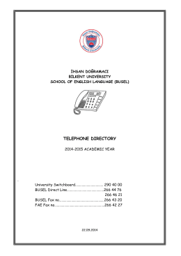 telephone dırectory - Bilkent University School of English Language