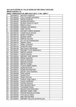 2014-2015 eğitim yılı yıllık dersler vize sınav listeleri miras hukuku i