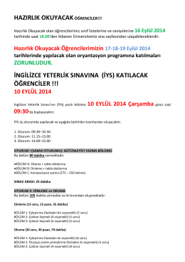 İNGİLİZCE YETERLİK SINAVI (İYS)