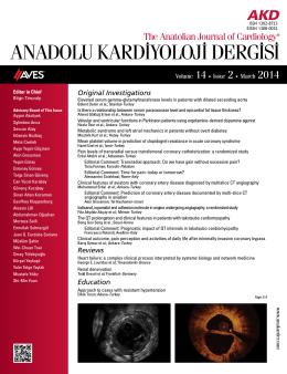 ANADOLU KARD‹YOLOJ‹ DERG‹S‹ - Anadolu Kardiyoloji Dergisi