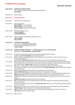 Bilimsel Program - 36. TPRECD Ulusal Kurultayı