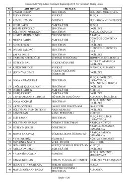 2015 Yılı İstanbul Tercüman Listesi Sayfa 1 / 9