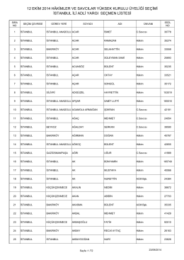 istanbul ili adli yargı seçmen listesi 12 ekim 2014 hâkimler ve