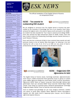 ESK NEWS - The English School of Kyrenia.