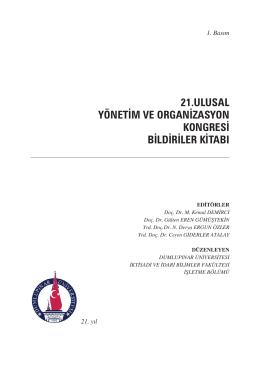 21.ulusal yönetim ve organizasyon kongresi bildiriler kitabı