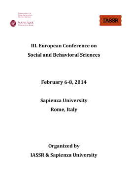 III. European Conference on Social and Behavioral Sciences