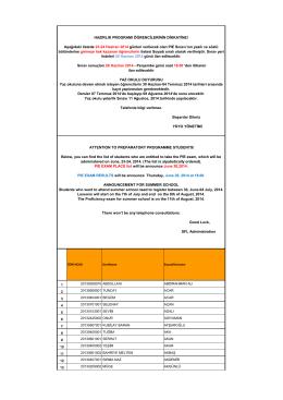Aşağıdaki listede 23-24 Haziran 2014 günleri verilecek olan PIE