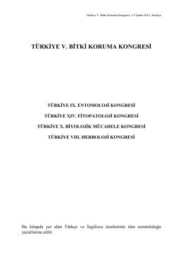 buradan - Türkiye V. Bitki Koruma Kongresi