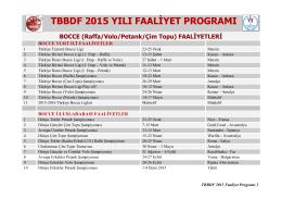 2015 Faaliyet Programı - Türkiye Bocce Bowling ve Dart Federasyonu