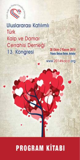 program kitabı - 13. Türk Kalp ve Damar Cerrahisi Kongresi