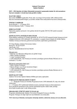 Akdeniz Üniversitesi Eğitim Fakültesi 2013 – 2014 öğretim yılı bahar