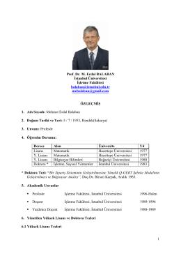 1 Prof. Dr. M. Erdal BALABAN İstanbul Üniversitesi İşletme Fakültesi