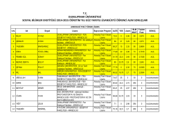 sosyal bilimler enstitüsü 2014-2015 öğretim yılı