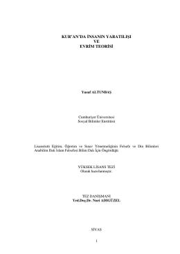 Kuranda Yaratilis ve Evrim Teorisi (Yusuf Altunbas – 2006) (pdf)